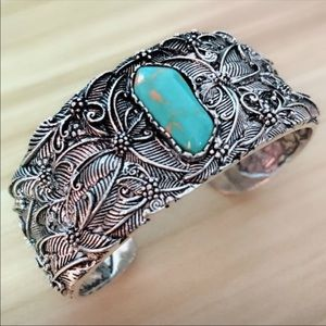 Silver Plates Tibetan Wide Cuff Turquoise Bracelet